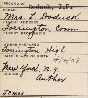 Handwritten College record form of IF Doduck asks for church affiliation, Doduck writes Jewish