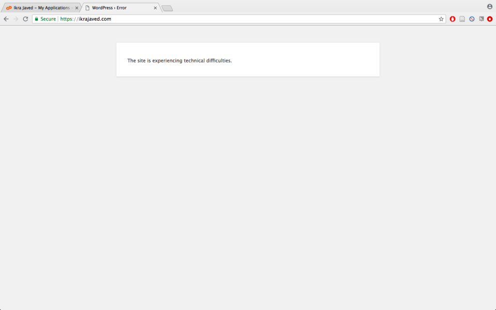 Screenshot: The site is experiencing technical difficulties.