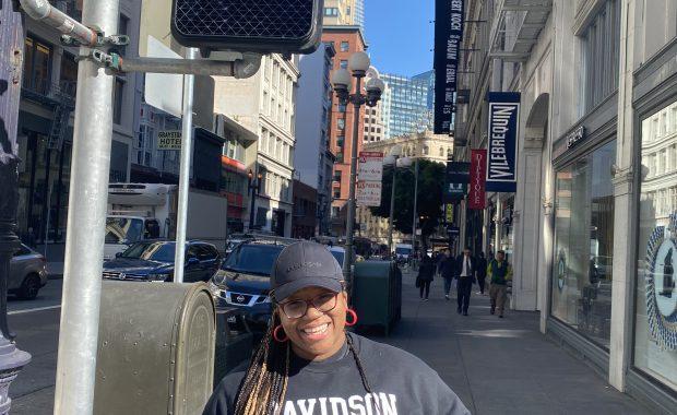 Jaelyn posed in CA street sidewalk