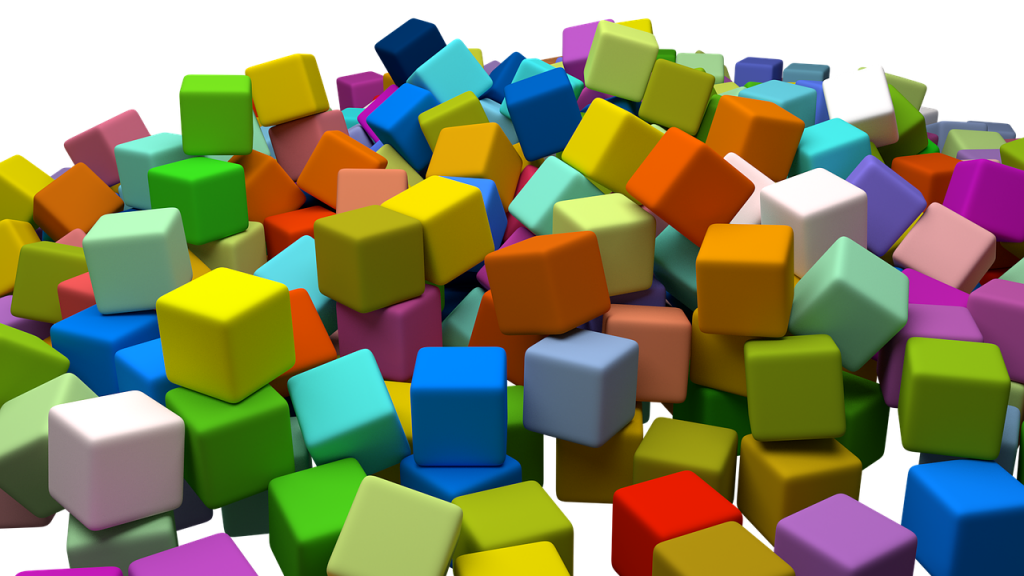 Colorful children's toy cubes