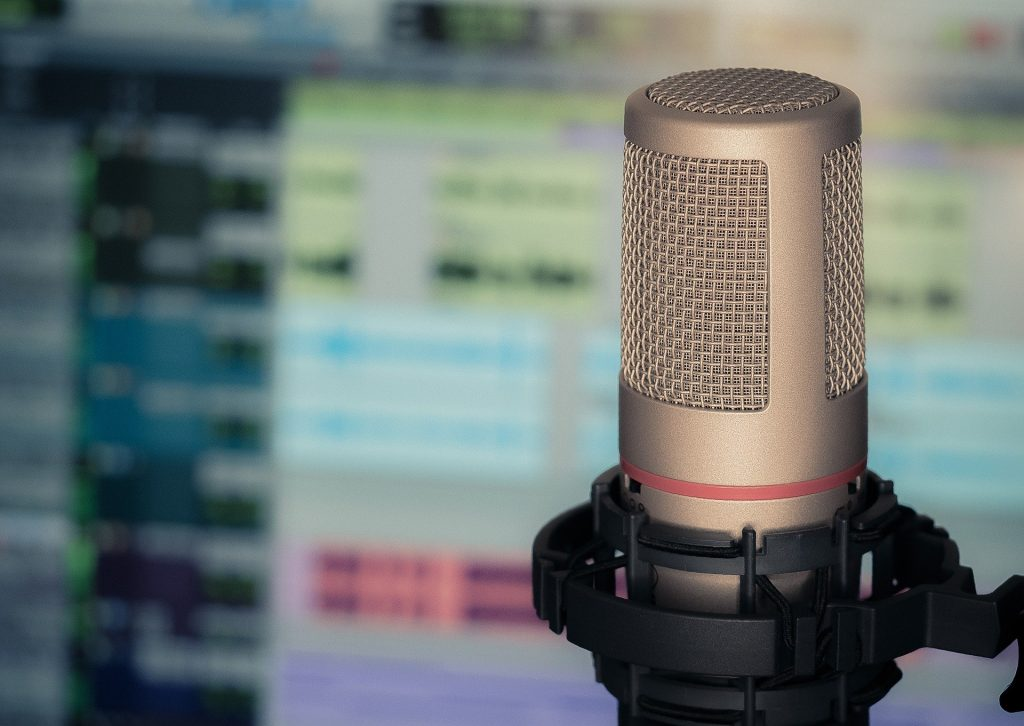 Microphone in podcast studio