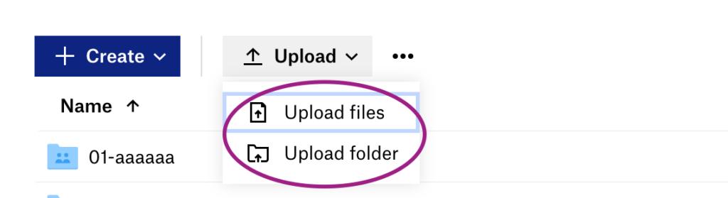 Screenshot of Dropbox Upload files or Upload folder