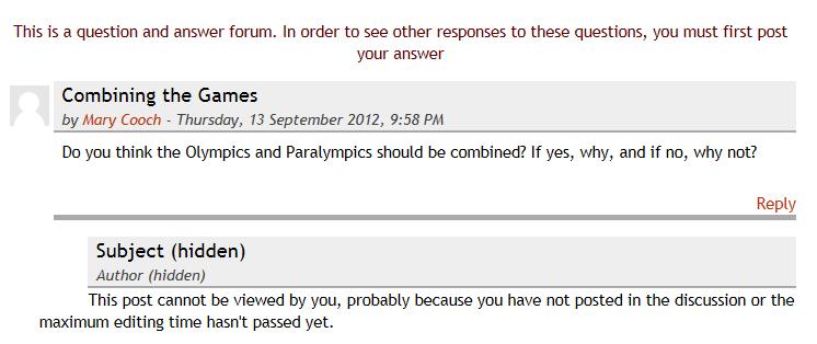 Screenshot of Q&A Moodle Forum