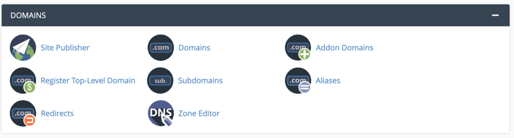 Domains Section in C-Panel